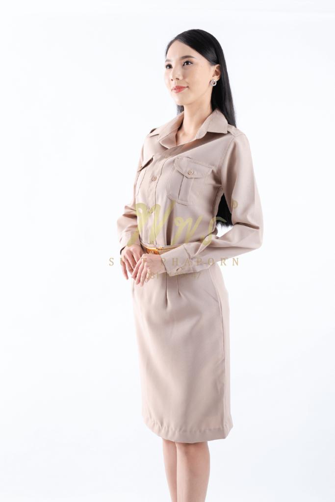 ชุดข้าราชการสีกากีหญิงแขนยาว | ร้านสูท พพร บริการตัดสูท ชุดสูท เสื้อเชิ้ต ชุดปกติขาว ครบวงจร