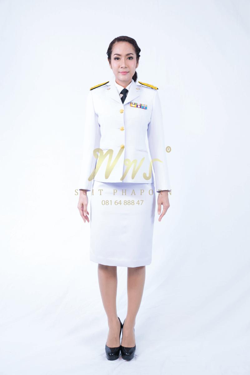 ชุดเครื่องแบบปกติขาวผู้หญิง | ร้านสูท พพร บริการตัดสูท ชุดสูท เสื้อเชิ้ต ชุดปกติขาว ครบวงจร
