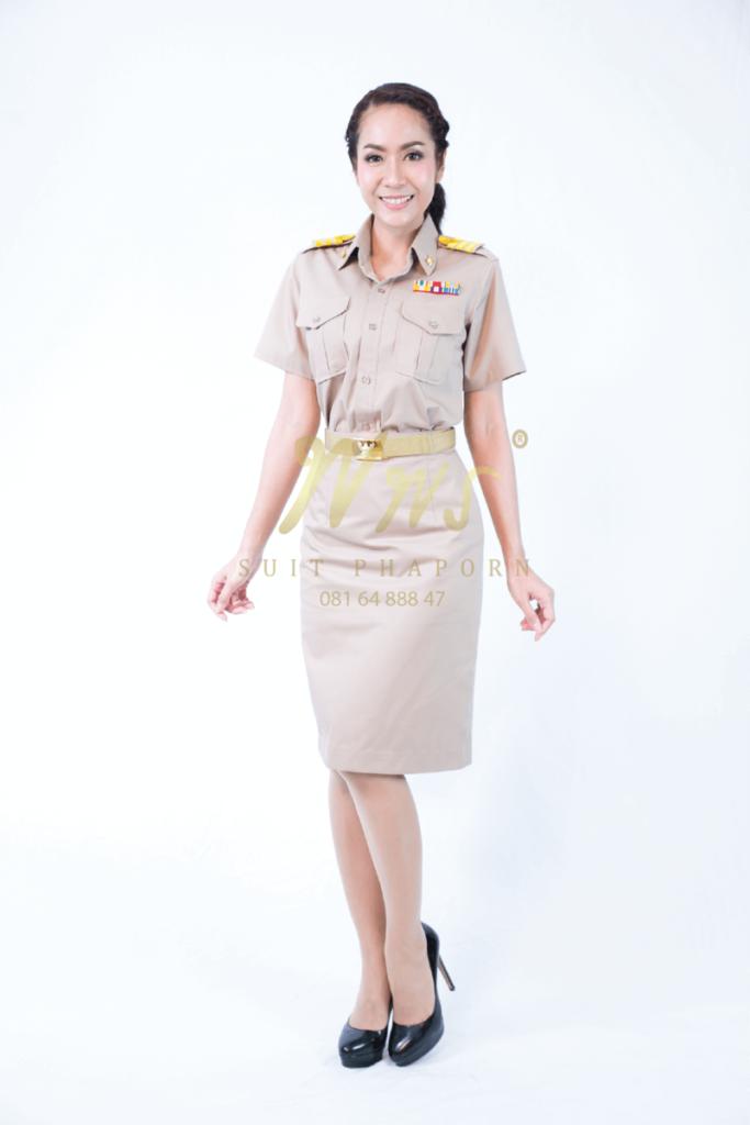 ชุดข้าราชการสีกากีหญิงแขนสั้น | ร้านสูท พพร บริการตัดสูท ชุดสูท เสื้อเชิ้ต ชุดปกติขาว ครบวงจร